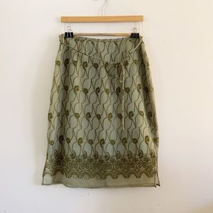 Anthropologie green skirt with embroidery